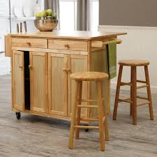 leaf kitchen cart: cart with natural wooden kitchen cart on wheels with drop leaf on island