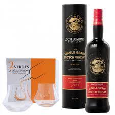 Pack Loch <b>Lomond</b> Single <b>Grain</b> 70cl 46° + 2 Tasting Glasses