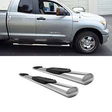 4 Oval <b>Chrome Stainless Steel Side</b> Step Rails Nerf Bar Running ...