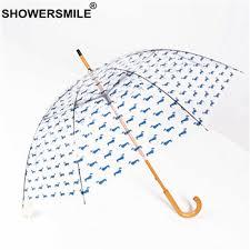 <b>SHOWERSMILE Transparent</b> Long Handle Rain <b>Umbrella</b> Women ...