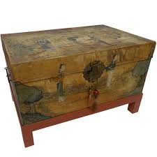 <b>Chinese</b> Export <b>Hand</b>-Painted <b>Leather</b> Trunk on Stand, Early 20th ...