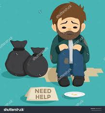 unemployed man sit on side street stock vector  unemployed man sit on the side of street need help text on the paper and