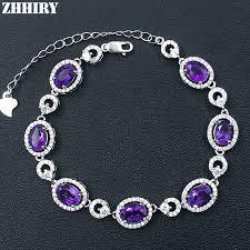Natural Purple Amethyst Gemstone Bracelet <b>Genuine</b> Solid <b>925</b> ...