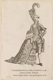 chevalier d eacute on caricature of d eacuteon dressed half in women s clothes half in men s clothes