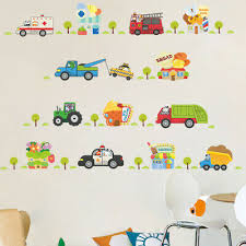 Removable <b>Cartoon</b> Car <b>Bus</b> Vehicle Wall Sticker For Nursery Kids ...