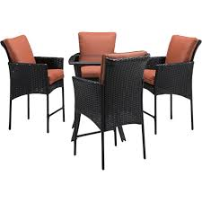 wicker bar height dining table: strathmere allure  piece all weather wicker square patio bar height dining set with