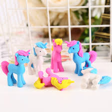 <b>3 pcs</b>/lot Creative <b>Cartoon Unicorn</b> Pony Shape Eraser Kawaii ...