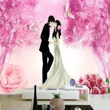 Romantic <b>Lovely</b> Girl Boy <b>Wallpapers</b> 3D Murals Pink <b>Flowers</b> ...