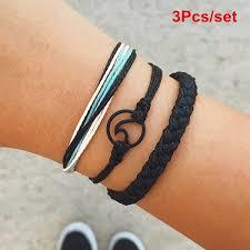 3Pcs/set Bohemia <b>Wave</b> Circle Braided Rope Bangle Bracelet ...