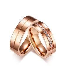 Titanium Rose Gold Ring For Couples Inlaid <b>Cubic Zirconia Luxury</b> ...