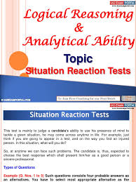 logical reasoning analytical ability situation reaction test