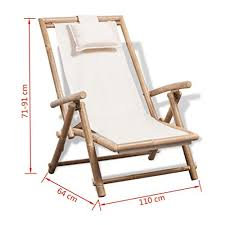 Festnight <b>Outdoor Patio Bamboo</b> Chaise <b>Lounge Chair</b>, Garden ...