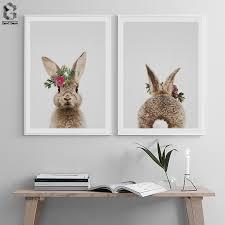 Kawaii <b>Animal</b> Rabbit Posters And Prints Wall Art <b>Canvas</b> Painting ...