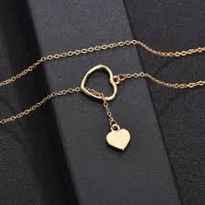 YANGQI Gold <b>Double</b> Heart Pendant <b>Necklace For</b> Women Round ...