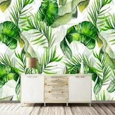 Custom Photo <b>Wallpaper</b> Hand Painted Banana <b>Leaves</b> Rain <b>forest</b> ...