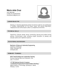 sample resume for industrial engineringmarie dela cruz lipa  batangas contact no    mariedelacruz gmail com seeking batangas society of industrial engineering