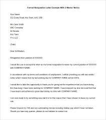 two weeks notice letter –    free word  pdf documents download    formal resignation letter with  weeks notice template