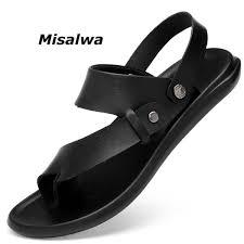 <b>Misalwa New Arrival</b> Men Flip Flops Fashion Black Leather Hot ...