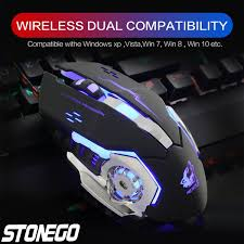 <b>2.4GHz Wireless Mouse</b>, Rechargeable Silent Click Mice with Nano ...