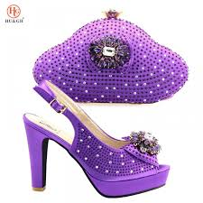Purple Color African <b>Women</b> Shoes And Bag Set Italian Newest ...
