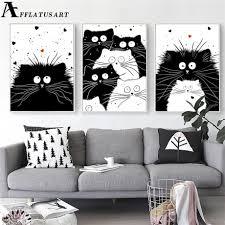 Black White <b>Kawaii</b> Cat Wall Art Canvas Painting <b>Animals</b> Nordic ...