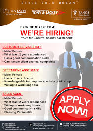 customer service operations staff s agent job hiring hiring head office flyers