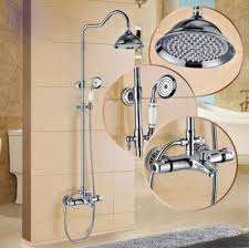 thermostatic brand bathroom: thermostatic mixer tap shower faucet  inch rain shower head hand spray chrome polished