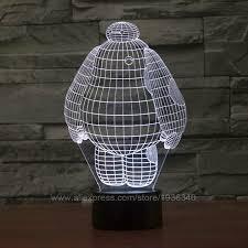 free shipping 3d decor big hero baymax shape 3d illusion led night light lamp magical led mood light for kids 3d044 cheap mood lighting