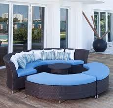 unusual curve wicker blue deck furniture and round wicker table on teak deck blue furniture