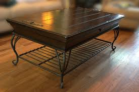 room vintage chest coffee table: dark brown rustic living room table sets dark brown table with black iron stand on