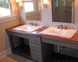 gray stained wooden vanity dressing table having open shelf mixed with brown butcher block top and bathroom bathroom magnificent contemporary bathroom vanity lighting style