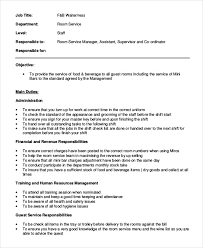 service waiter job description waiter job description