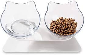 LaiFug Elevated <b>Double Cat Bowl</b>,Pet Feeding Bowl Raised The ...