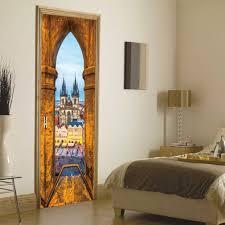 2pcs/set Creative DIY Door Sticker <b>Prague</b> Square Church Art Mural ...