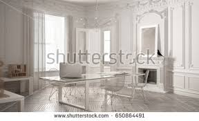 modern minimalist office. modern minimalist office in classic vintage room with fireplace luxury white interior design 3d