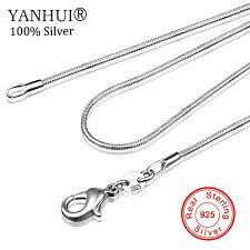 Free Sent Certificate Original 925 Solid Silver <b>Snake</b> Bone <b>Necklace</b> ...