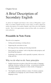 a brief description of secondary english language and learning