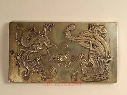 Collect <b>China</b> Old Tibet Silver <b>Handwork Carved</b> Dragon Phoenix ...