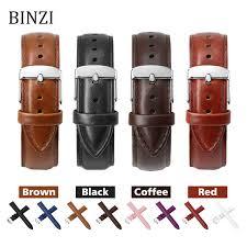 Black <b>Watch Bands</b> Strap <b>Watchband</b> Leather Men Women Genuine ...
