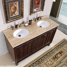 55 inch double sink bathroom vanity:  inch small furniture style double sink vanity with travertine