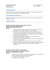 resume electronics engineer years experience