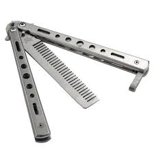 <b>Stainless Steel Butterfly</b> Balisong Comb <b>Practice</b> Trainer Knife Dull ...