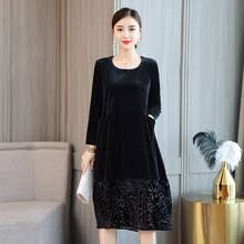 Купить black velvet dress women long sleeve <b>plus size</b> elegant robe ...