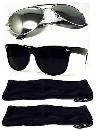 2 PAIR Mens/Womens Sunglasses Silver Aviator + Black Retro Style ...