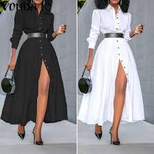 Loose Long Sleeve Shirt Dress <b>2021 VONDA</b> Fashion <b>Womens</b> ...