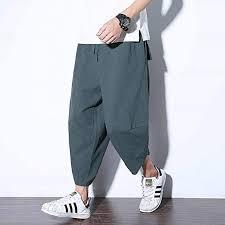 Amazon.co.jp: <b>Summer</b> Cotton Linen Wide Leg Trousers <b>Men Elastic</b> ...