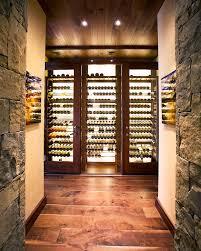 rustic wine cellar with glass doors bellevue custom wine cellar