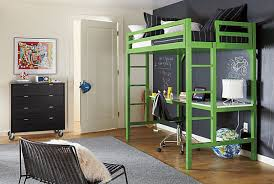 charming green loft bed with desk completed with chairs and kids bedroom decorations also furnished with black chest and chair on thick carpet charming kids desk