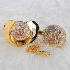 <b>MIYOCAR bling</b> handmade <b>pink</b> crown pacifier clip pacifier chain ...