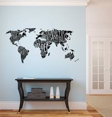 World Map with Travel Quotes Wall Decal via Relatably.com